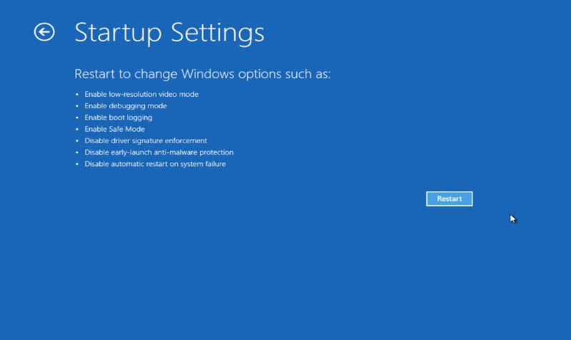Disable Driver Signature Win 10 Startup Setting
