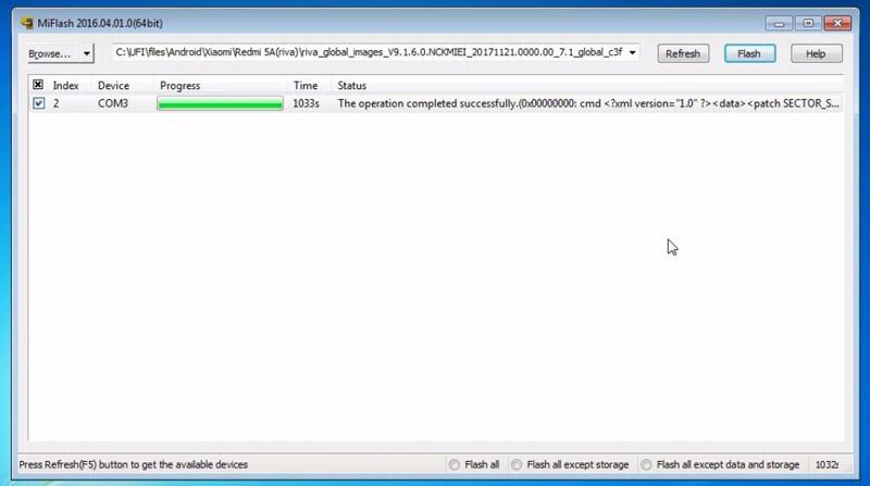 Flash Redmi 5a Matot Flashing Complete