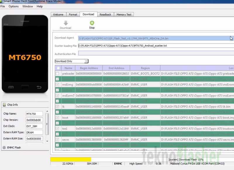 OPPO A71 Flashtool Proses Flash