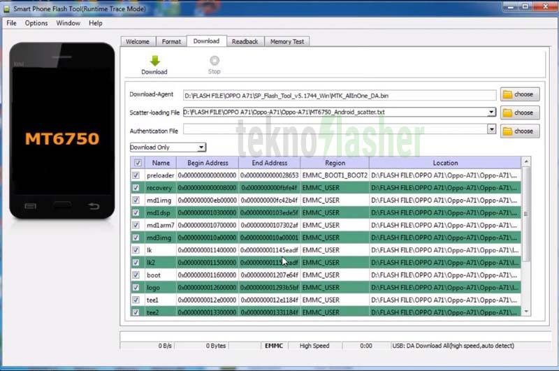 OPPO A71 Flashtool scatter loading