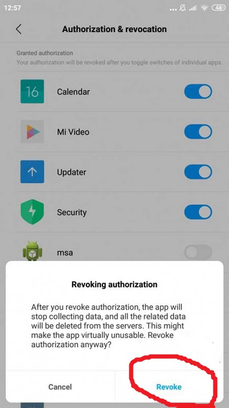 Hapus Iklan MIUI Additional settings Revoke
