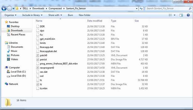 Fix Sensor Redmi 4x Extract File