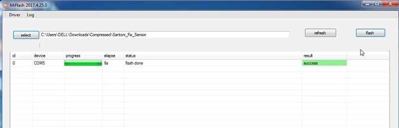 Fix Sensor Redmi 4x Flash Done