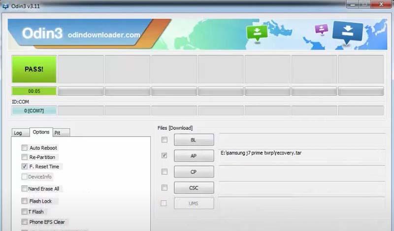 Pasang TWRP Samsung J7 Prime PASS