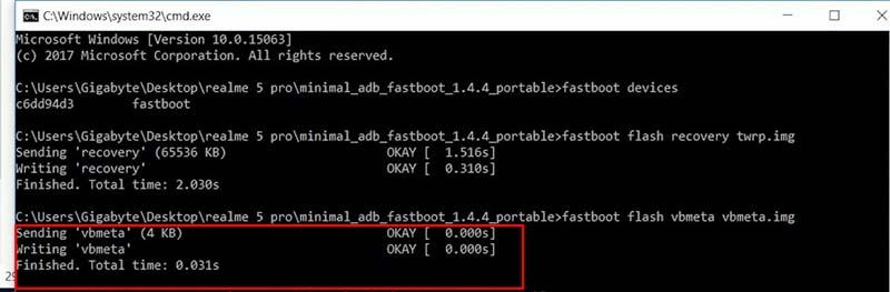 TWRP Root Realme 5 Pro CMD vbmeta