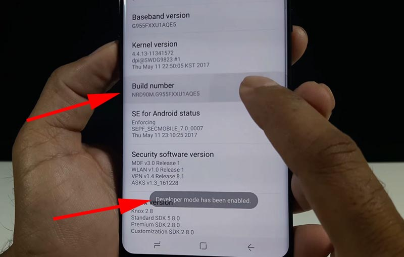 TWRP Samsung S8 Developer mode