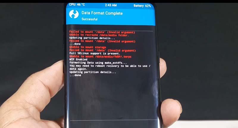 TWRP Samsung S8 Format data