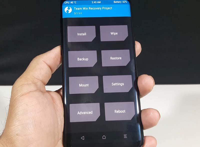 TWRP Samsung S8 Menu