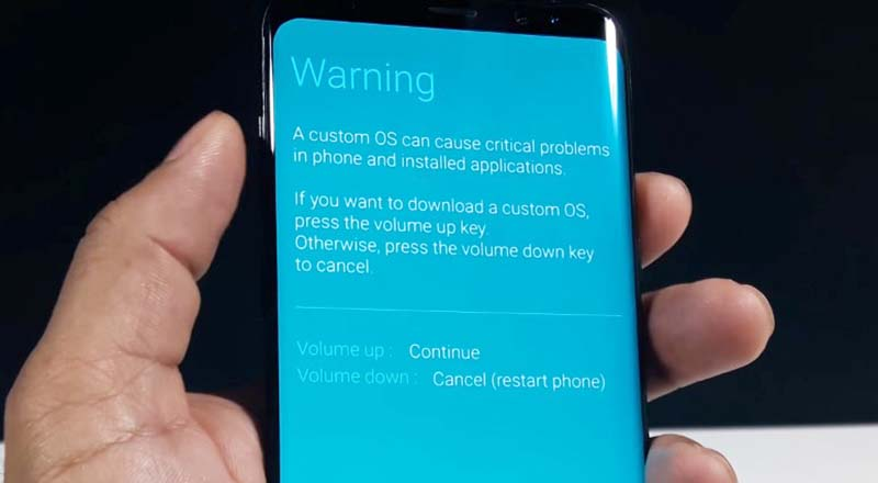 TWRP Samsung S8 Warning