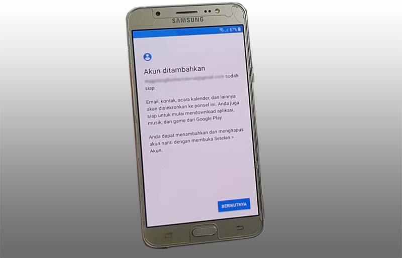 FRP Samsung J5 2016 Akun ditambahkan