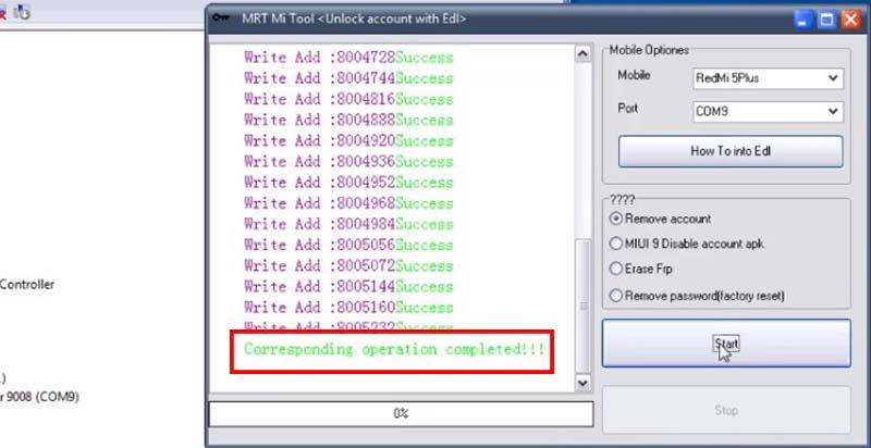 Unlock Micloud Redmi 5 Plus MRT Tool Completed